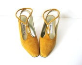 Yellow Suede Heels, Goldenrod Slingback Platform Pumps by Proxy, 6, 6.5