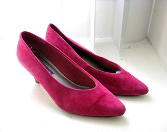 Vintage Fuchsia Pumps, Magenta Hot Pink Suede Leather, 7.5