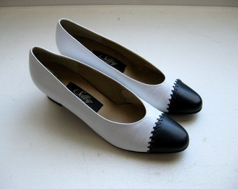 Vintage Spectator Heels, Black and White Leather Shoes by Selby, 8.5