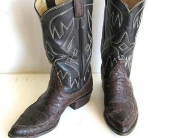 SALE Men's Leather Cowboy Boots, Designer Vintage by TONY LAMA, 8
