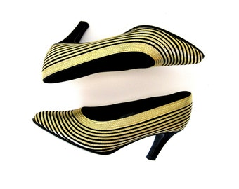 Metallic Gold Pumps, Striped Heels by J Renee, 8