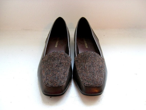 Enzo Angiolini Brown Leather Loafers Flats, Espresso, 8.5