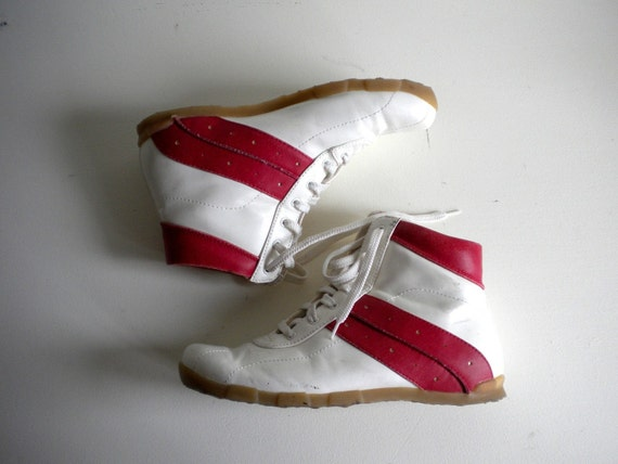 Vintage High Tops, Red Stripe Retro Sneakers 9