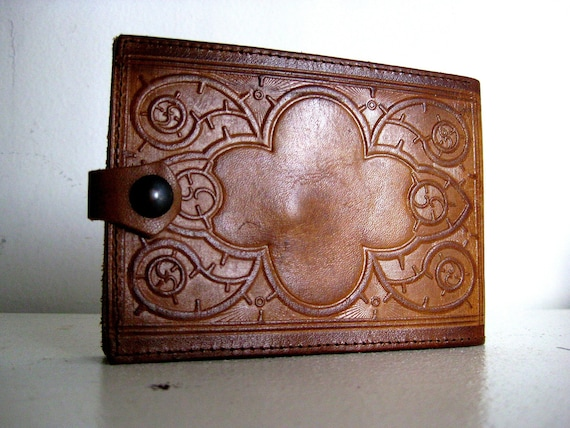 RESERVED 70s Tooled Leather Wallet, Cognac Light Brown