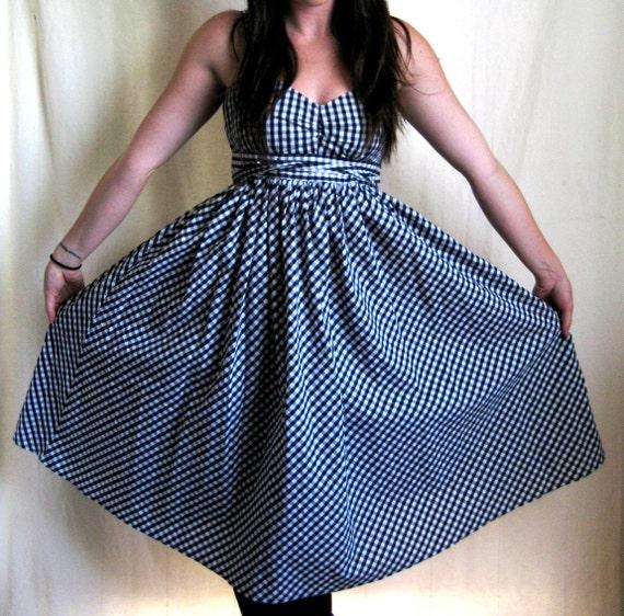 RESERVED FOR SL - Gingham Sundress, Black and White, Full Circle Skirt