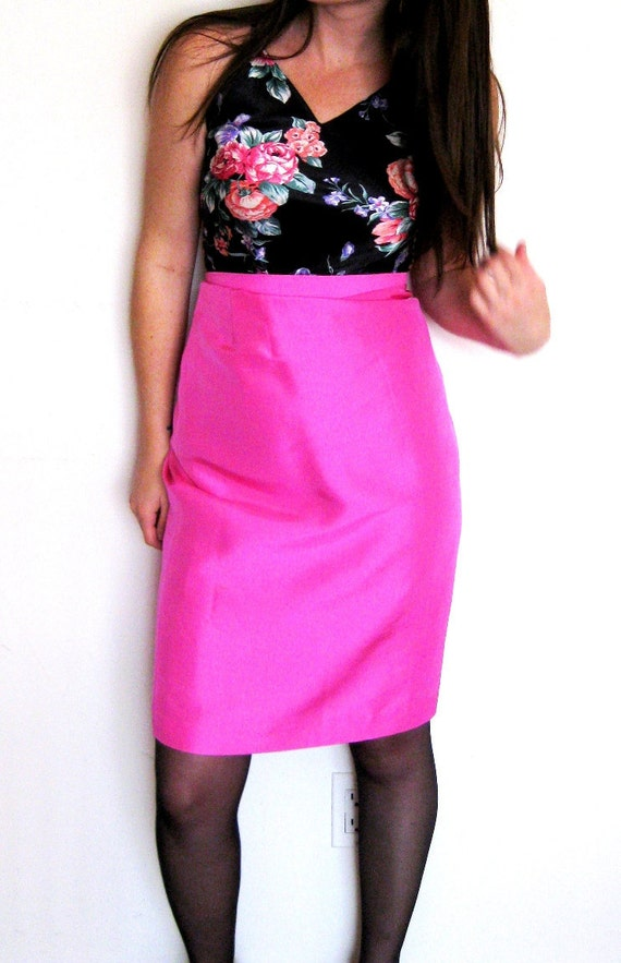 silk pencil skirt pink by mygmascloset on etsy
