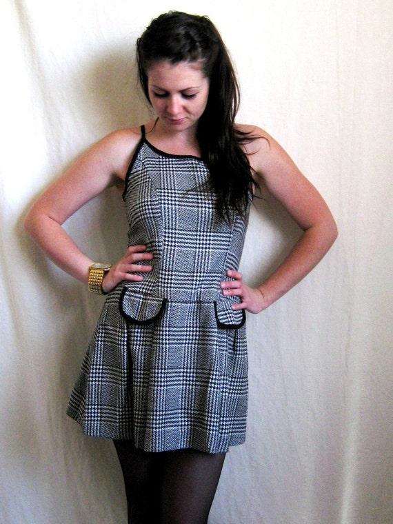 Houndstooth Dress Spaghetti Strap Mini Pleated Skirt