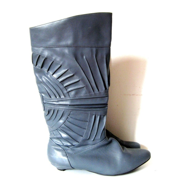 80's Pirate Boots, Gray Grey Tall Boots, Kitten Heel, 9 - SHOE BLOWOUT SALE