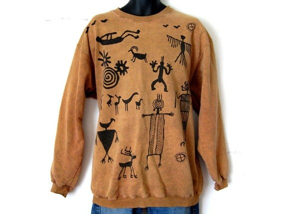 Vintage Mens Sweatshirt, Tribal Ethnic Graphic Print Sweater