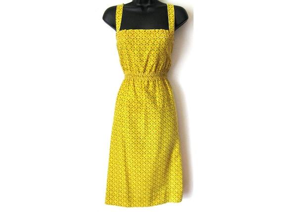 Vintage Yellow Sundress, Small Flowers, Floral Tank Dress, MEDIUM, LARGE