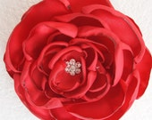 The Bella Baby Pinkish Red Satin Fabric Rhinestone Flower Hair Clip Rose Bridal Bridesmaid Wedding