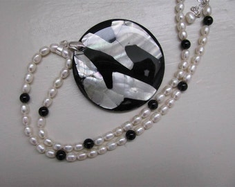 Splendor Necklace with fresh water pearl and shell and resin pendant-FREE SHIPPING