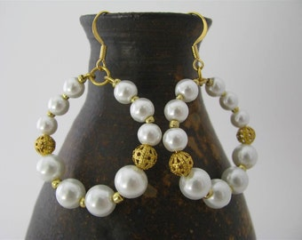 White Round Earrings with White Glass Pearls