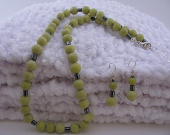 OLIVE Necklace and  Earrings - Set in Olive New Jade and Hematite