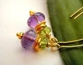 Amethyst Peridot Gold Vermeil Yellow Gold Plated Long Lotus Earrings