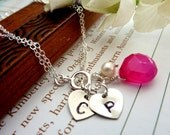 Sweet Heart Custom Initial and Stone Bracelet - Hot Pink Chalcedony 2 Heart Initials Sterling Silver Bracelet
