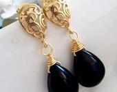 SALES - BLACK ONYX Golden Fancy Floral Teardrop Earrings