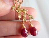 Ruby Gems Golden Leaf Branch Earrings