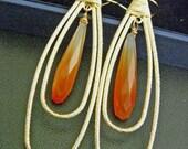 LAST ONE - Elongated Orange Carnelian Long Golden Double Hoops Earrings
