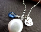 Custom Initial and Stone - Coin Pearl, Blue Kyanite, Custom Initial Heart Charm Necklace in Sterling Silver Chain