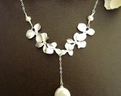 COIN PEARL Double Set of Trio Orchid Flowers Necklace in Sterling Silver Chain (Gold is also available)