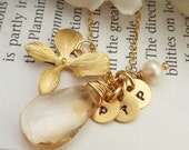 Custom Initial and Stone Necklace - Pick Up 3 Custom Initial Disc Citrine Orchid Pearl Necklace in 14k Gold Filled Chain