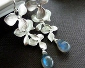 Blue Flash Labradorite, Triple Orchid Flowers Sterling Silver Earrings