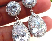 Bridal Earrings Kim Kardashian Inspired High Quality LARGE White Clear Pear Shaped CZ Cubic Zirconia Round Post Earring