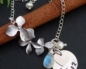 PERSONALIZED- Custom Stone, Sterling Silver Round Charm (date), Initial Heart, Orchid, Pearl Adjustable Bracelet in Sterling Silver Chain