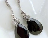 Classy Jet Black Cubic Zirconia with White Gold Plated CZ Earrings
