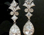 Bridal Earrings - Royal Style High Quality Large Clear White Peardrop CZ with White Gold Plated Fancy CZ Post Earrings