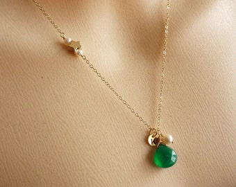 CUSTOM INITIAL and STONE - Green Onyx Pearl Custom Initial Round Disc Shooting Star in 14k Gold Filled Chain Necklace