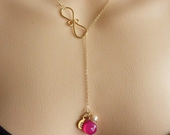 Custom Initial and Stone - Hot Pink Chalcedony, Custom Initial Disc, Pearl, Infinity Lariat Necklace