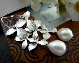 BIG Chunky White Fresh Water Pearl Triple Silver Orchid Sterling Silver Earrings