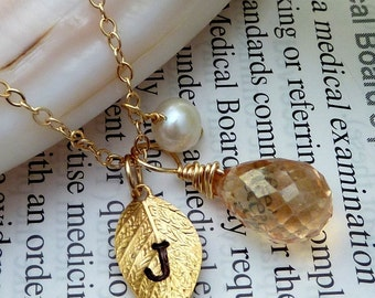 Custom Initial and Stone - Champagne Quartz, Pearl, Custom Initial Lesf Necklace in14K Gold Filled Chain