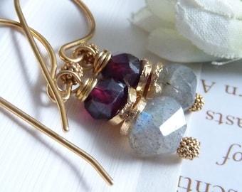 Labradorite and Garnet GOLD VERMEIL Earrings