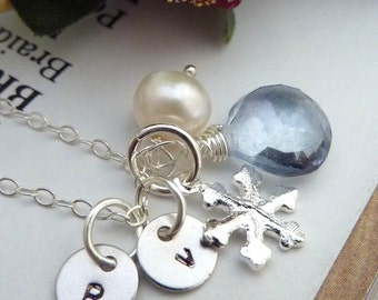 Custom Stone and Initial- Blue Quartz, Snow Flake, 2 Custom Initial Discs, Pearl Necklace in Sterling Silver Chainain