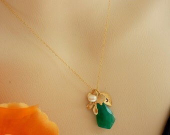 Custom Initial and Stone - Big Green Onyx, Custom Initial Leaf, Orchid, Pearl Necklace in 14k Gold Filled Chain