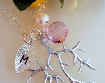 Pick Your Initial and Stone - Custom Initial Silver Leaf, Mystic Pink Quartz, Silver Branch Necklace in Sterling Silver Chain