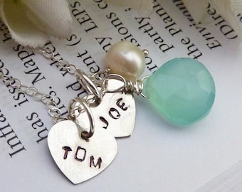 Pick Your Stone and 2 Personalized Silver Hearts, Aqua Chalcedony,Pearl Necklace in Sterling Silver Chain