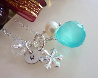 Pick Your Initial and Stone - Aqua Blue Chalcedony, Snow Flake, Custom Initial Disc, Rock Crystal, Pearl Neckalce in Sterling Silver Chain