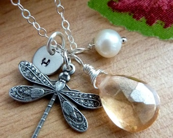 Pick Your Initial and Stone - Champagne Quartz, Dragonfly, Custom Intiail Disc, Pearl Necklace in Sterling Silver Chain