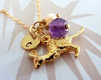 Pick Your Birthstone and Custom Initial - Kangaroo, Amethyst, Custom Initial Disc, Pearl Necklace in 14k Gold Filled Chain