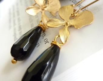 Midnight Blossom Earrings- Black Onyx 16K Golden Orchid Long Earrings