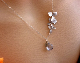 Pick Your Initial and Stone - Mystic Blue Quartz, Custom Initial Disc, Triple Orchids Necklace in Sterling Silver Chain