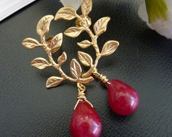 Cherry Red Ruby Quartz 6K Golden Leaf Branch Earrings