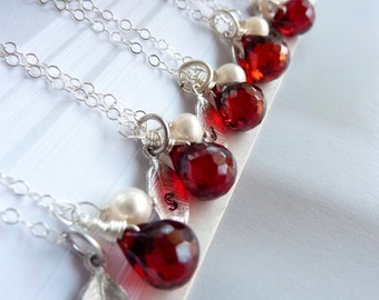 Custom Stone and Initial - Red Garnet CZ Custom Initial Leaf Pearl Necklace in Sterling Silver Chain - Great Bridesmaid Gift