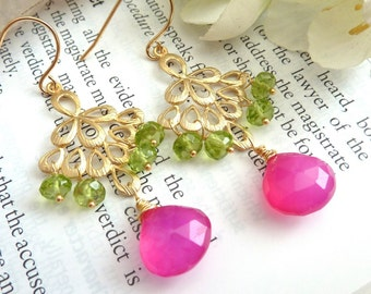 Hot Pink Chalcedony Peridot Golden Peacock Feather Earrings