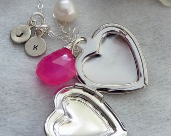 Sweet Valentine - Custom Stone - Hot Pink Chalcedony, Custom 2 Initial Disc, Heart Locket, Pearl Necklace in Sterling Silver Chain