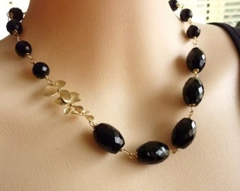 MIDNIGHT BLOSSOM NECKLACE - Black Onyx Golden Triple Orchid Beaded Necklace